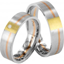 Trouwringen tri color 1 diamant